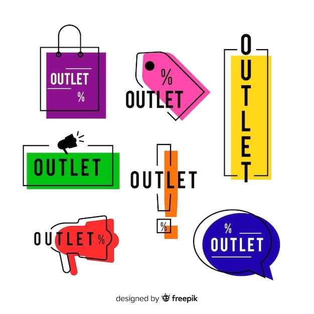 Outlet-label-sammlung Kostenlosen Vektoren