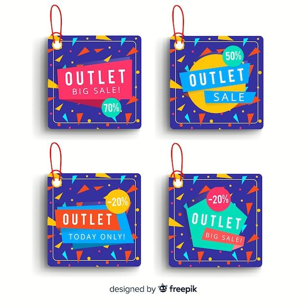Outlet-labels-sammlung Kostenlosen Vektoren