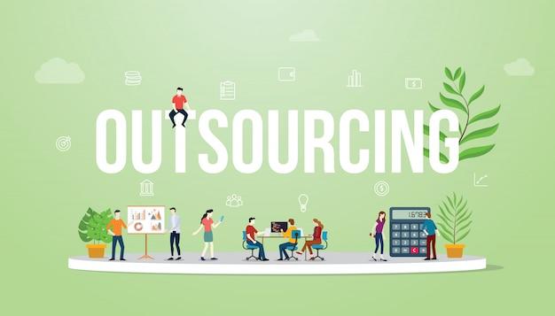 Outsourcing des großen textes des geschäftskonzeptes mit leuten Premium Vektoren