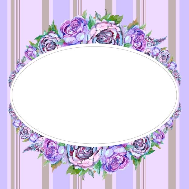 Ovaler rahmen mit aquarellblumen Premium Vektoren