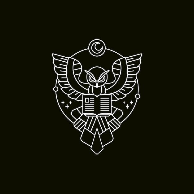 Owl book mono-line illustration Premium Vektoren