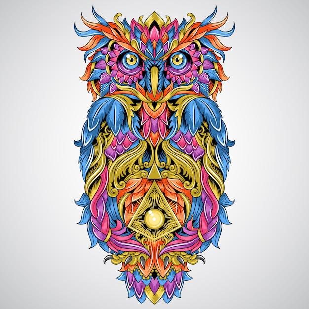 Owl detail ornament artwork für tätowierung und vollfarbe tribal element vector Premium Vektoren