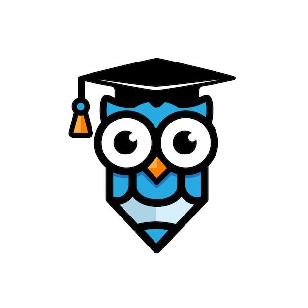 Owl maskottchen design-konzept und bildung Premium Vektoren