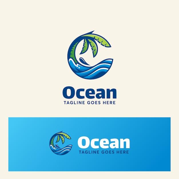 Ozean logo vorlage modernen sommer Premium Vektoren
