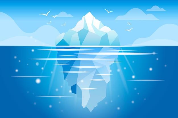 Ozean mit eisbergillustrationskonzept Kostenlosen Vektoren