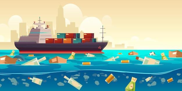 Ozeanplastikabfallverschmutzung mit schiffsillustration Kostenlosen Vektoren