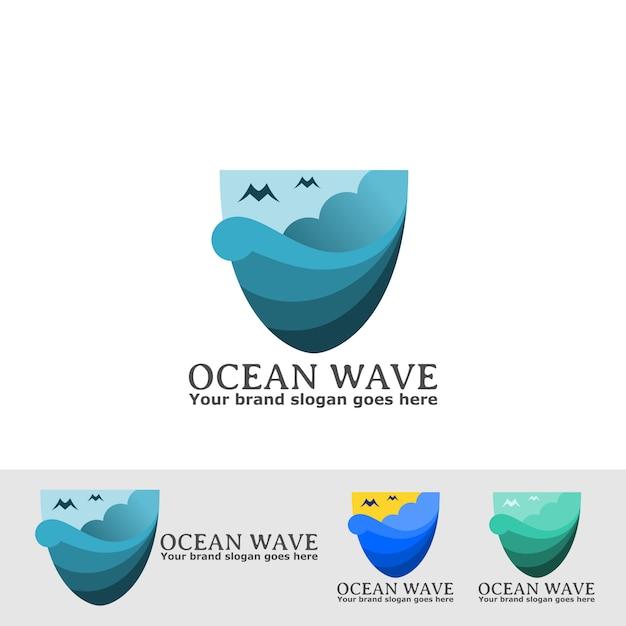 Ozeanprisma logo mit wolke Premium Vektoren