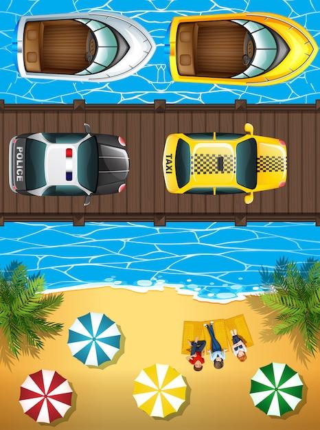 Ozeanszenenhintergrund mit booten und autos Kostenlosen Vektoren