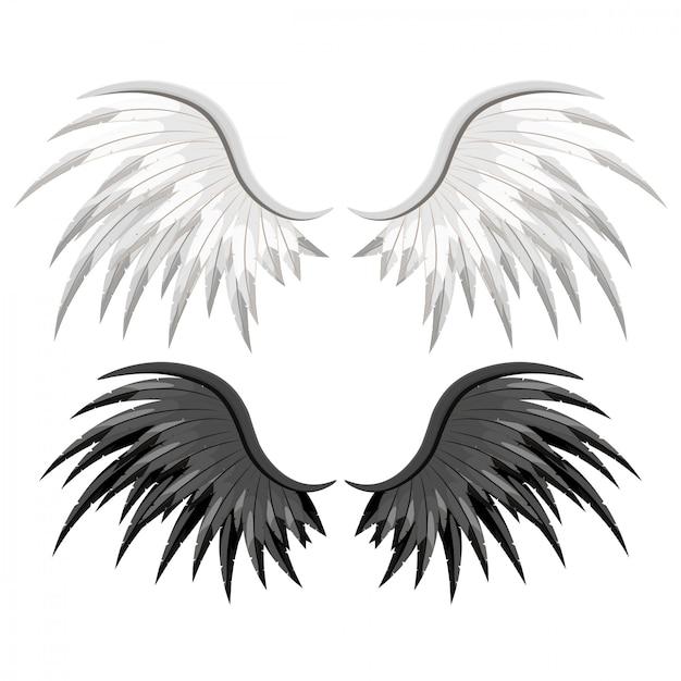 Paar adler vogel oder engel flügel ausgebreitet Premium Vektoren