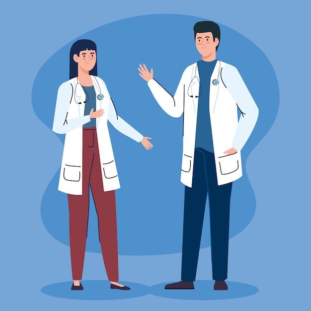 Paar ärzte mit stethoskop-avatar-charakter Kostenlosen Vektoren
