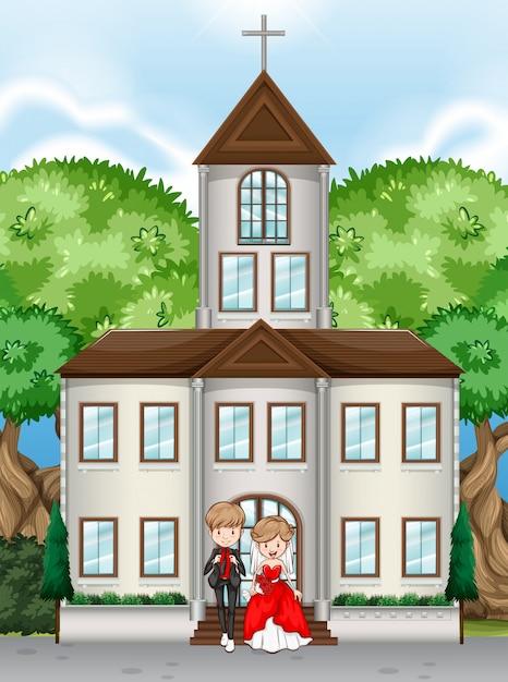 Paar auf einer kirche an ihrem hochzeitstag Kostenlosen Vektoren