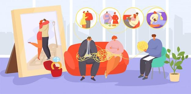Paar auf psychotherapie, cartoon traurige erwachsene familienangehörige besuchen psychotherapeuten für rat, hilfe bei emotionalen problemen Premium Vektoren