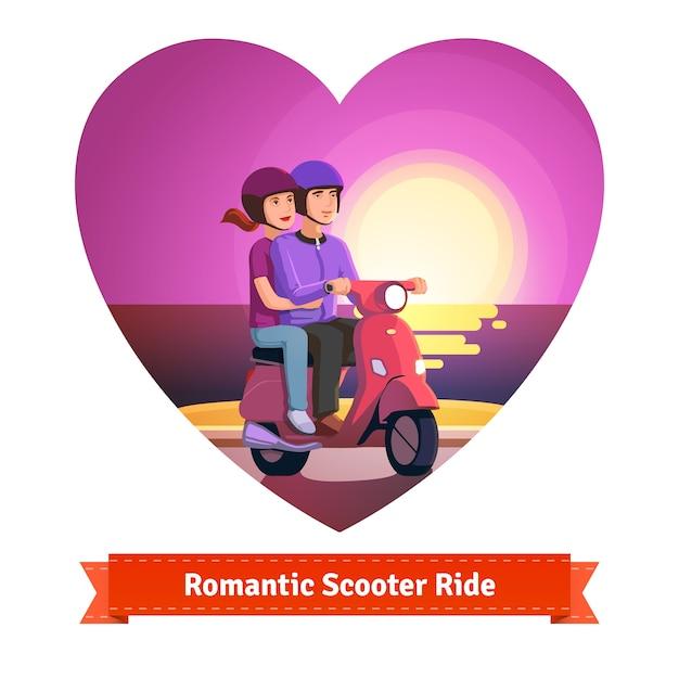 Paar auf roller mit einer romantischen fahrt Kostenlosen Vektoren