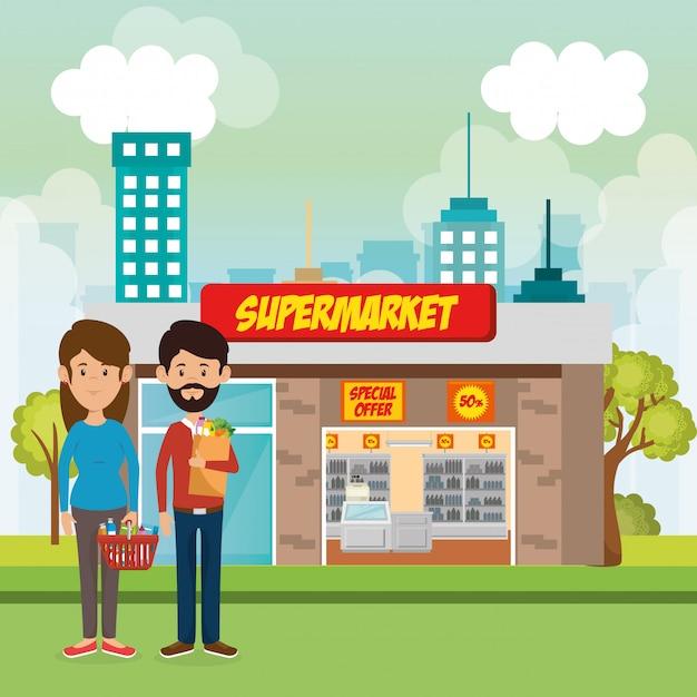 Paar außerhalb supermarkt gebäudeszene Kostenlosen Vektoren