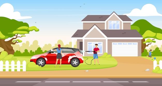 Paar, das fließheckfarbillustration wäscht. karikaturfiguren des glücklichen paares und des kindes mit landhaus auf hintergrund. leute, die familienauto zusammen draußen reinigen Premium Vektoren