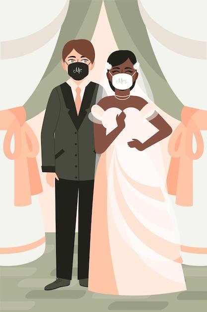 Paar, das gesichtsmasken bei ihrer hochzeit trägt Kostenlosen Vektoren