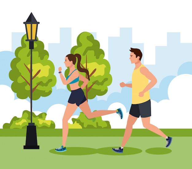 Paar, das in der parklandschaft joggt, paar, das im freien läuft, paar, das im sportillustrationsdesign im sportbekleidung joggt Premium Vektoren