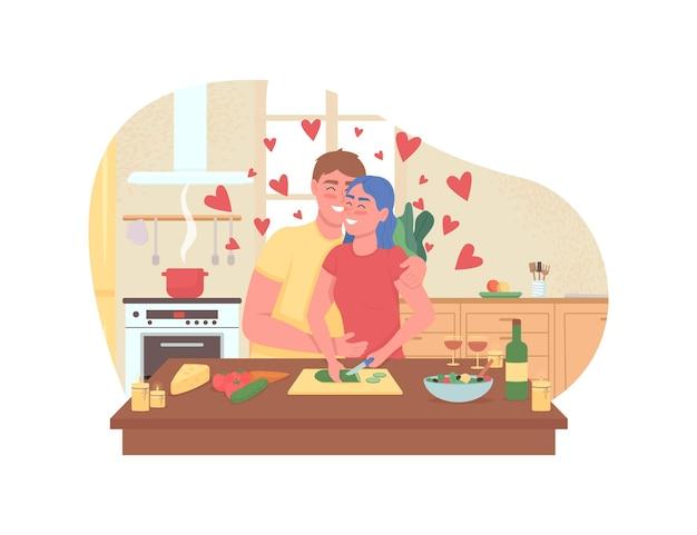 Paar, das romantisches abendessen-web-banner, plakat kocht. Premium Vektoren