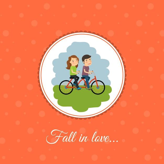 Paar fährt fahrrad Premium Vektoren