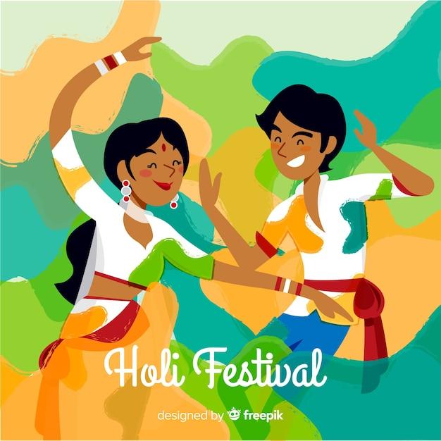 Paar holi festival hintergrund Kostenlosen Vektoren