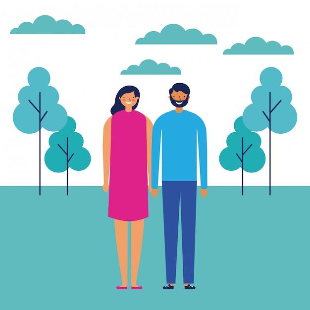Paar im freien park Kostenlosen Vektoren