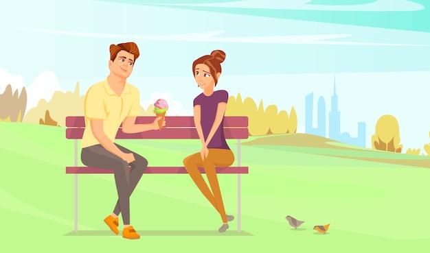 Paar im park. Premium Vektoren