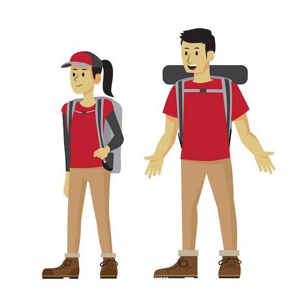 Paar im passenden freizeitoutfit wandern Premium Vektoren