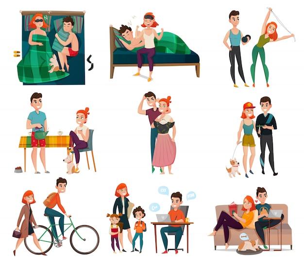 Paar im täglichen leben festgelegt Kostenlosen Vektoren