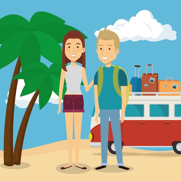 Paar in den strandcharakteren Kostenlosen Vektoren