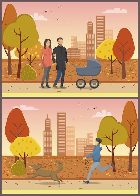 Paar in der liebe mit kinderwagen family park set Premium Vektoren