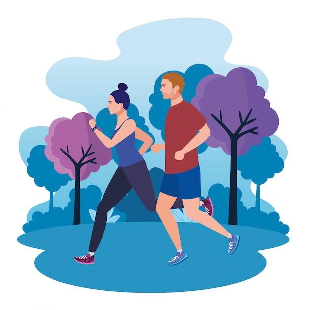 Paar joggen in der parklandschaft, paar läuft im freien, paar in sportbekleidung joggen in der natur Premium Vektoren