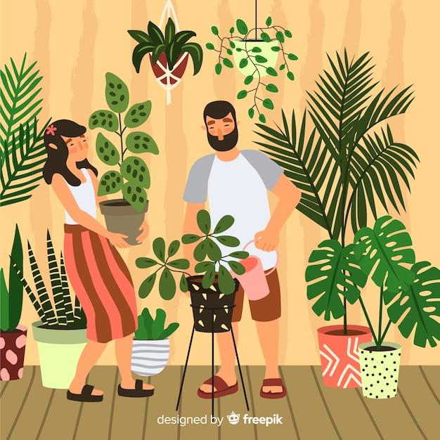 Paar kümmert sich um pflanzen Kostenlosen Vektoren