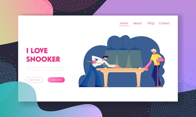 Paar männer, die snooker auf der landing page der green table-website spielen Premium Vektoren