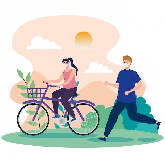 Paar mit gesichtsmaske, die übung in der landschaft übt Kostenlosen Vektoren