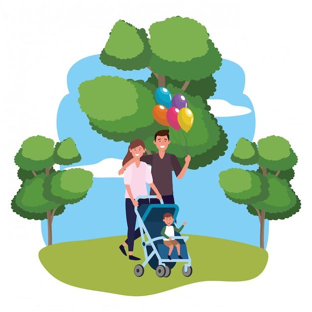 Paar mit kinderwagen Premium Vektoren