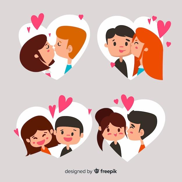 Paar-sammlung des valentinstags küssend Kostenlosen Vektoren