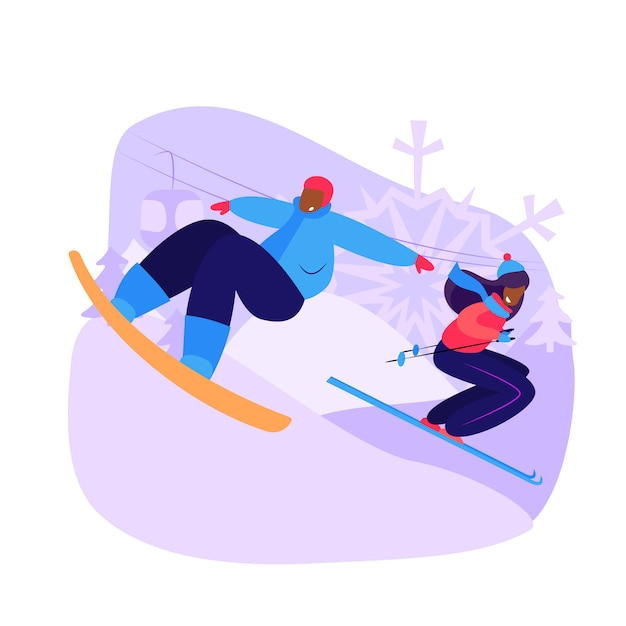Paar snowboarden und skifahren bergab Kostenlosen Vektoren