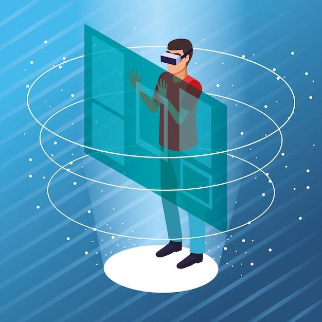 Paar spielt mit der virtuellen realität Kostenlosen Vektoren