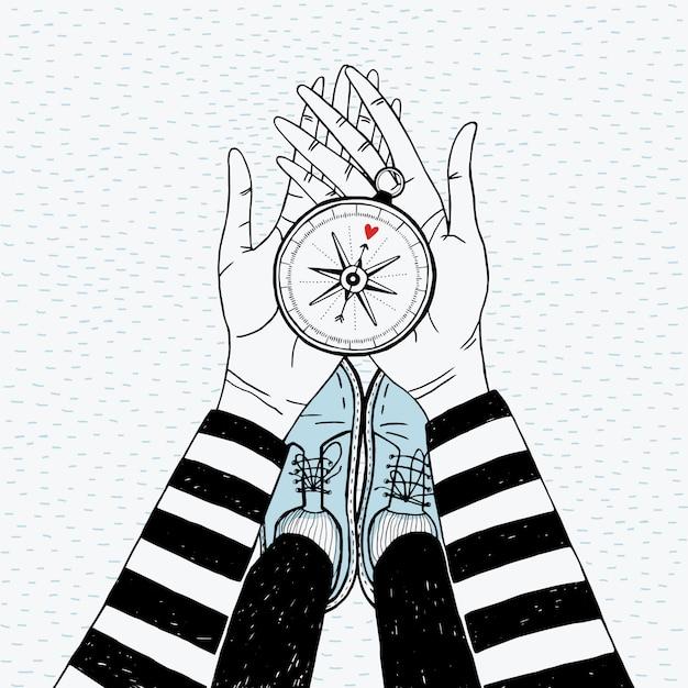 Paar suchkonzept. mädchen mit liebeskompass. nette hand gezeichnete illustration. Premium Vektoren