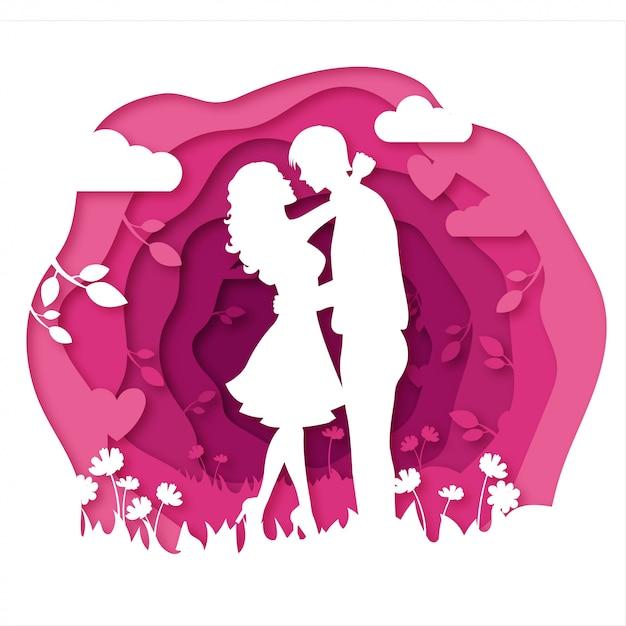 Paar-tanzenpapierausschnitt-artvektor für die heirat laden u. valentinsgrußkarten ein Premium Vektoren
