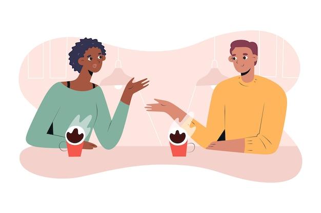 Paar trinkt kaffee und spricht date im café Premium Vektoren