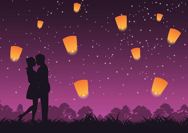 Paar umarmen zusammen und küssen laterne oben Premium Vektoren