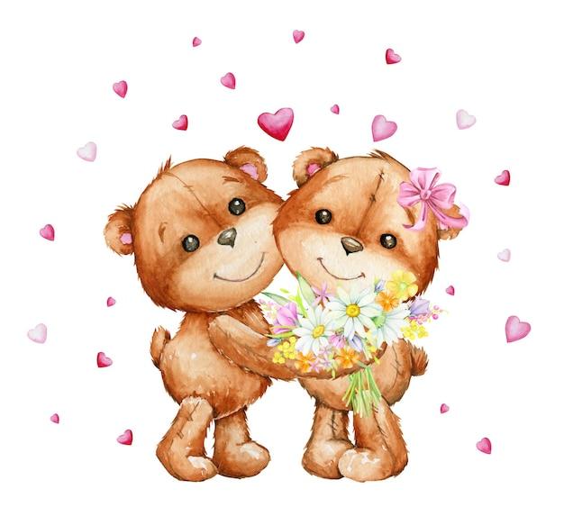 Paar umarmende teddybären mit einem blumenstrauß Premium Vektoren