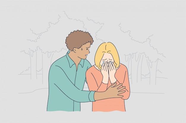 Paar, unterstützung, depression, psychischer stress, frustrationskonzept Premium Vektoren