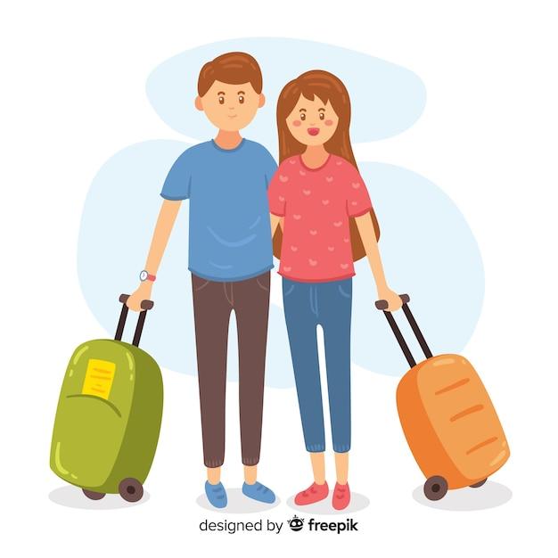 Paar unterwegs Kostenlosen Vektoren