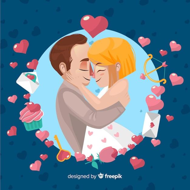 Paar Valentinstag Hintergrund Umarmen Download Der Kostenlosen Vektor