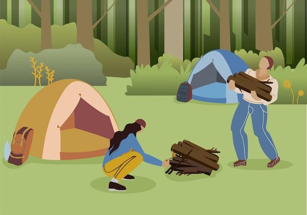 Paar wald camping wohnung Premium Vektoren