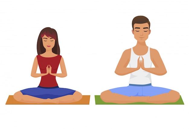 Paar-yoga-vektor-illustration. mann und frau lotus position isoliert. Premium Vektoren