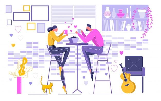 Paare auf dem datum, das getränk hält und zu abend isst. Premium Vektoren