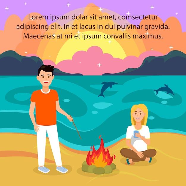 Paare auf strand-vektor-illustration mit copyspace Premium Vektoren